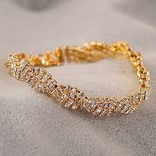 bracelet gold women images Gold silver crystal rhinestone chain bracelet women jewelry jpg