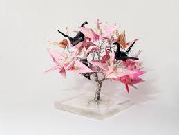 origami crane tree wire tree sculpture japanese art