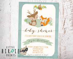 woodland baby shower invitations woodland baby shower invitation fox deer raccoon boy rustic