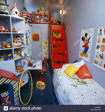Small Mezzanine Bedroom by Red Steps To Mezzanine In Child U0027s Small Eighties Bedroom With Toys