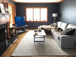 Dark Walls Pairing A Neutral Rug With Moody Walls The Sweet Beast