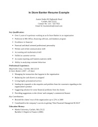Private Banker Resume Sample by One Page In Store Banker Resume Template