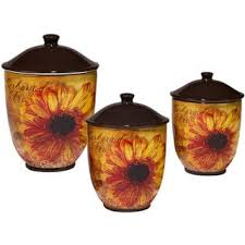 sunflower canister sets kitchen certified international sunflower 3 canister set