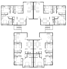 2 Story Apartment Floor Plans Apartment 4 Unit Apartment Plans