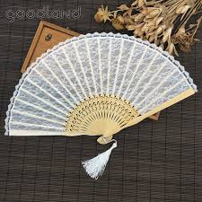 fan favors free shipping 10pcs white lace held fans tulle folding fans
