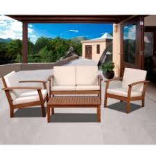 White Wood Outdoor Furniture by Eucalyptus Patio Furniture Sets Foter