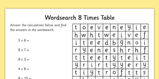 8 times table worksheet multiplication 8 times tables word search worksheet