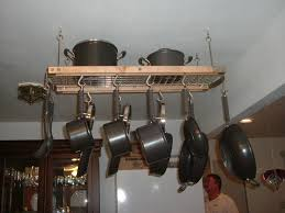 kitchen white ceiling design ideas with pots and pans rack plus