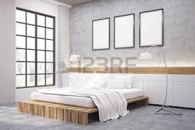 two floor bed modern bedroom in comfortable house wooden walls stock