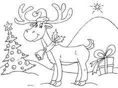 flying reindeer printable color number hard