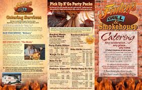 smokehouse catering menu finley s grill and smokehouse