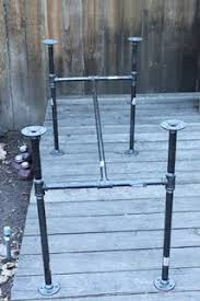 Patio Table Bases Table Base Black Pipe Maybe A Live Edge Plank Of Cedar Or