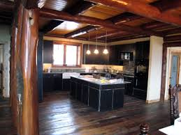 black kitchen cabinets in log cabin home interior design cabin decorating ideas for kitchens