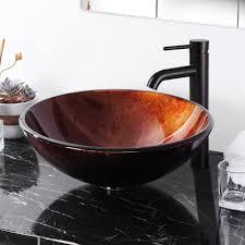 Modern Bathroom Round Artistic Tempered Glass Vessel Vanity Sink - Solid wood 32 inch bathroom vanity