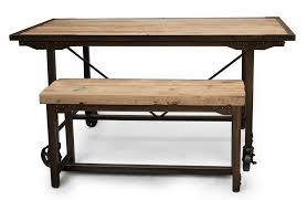 Rustic Farmhouse Dining Table With Bench Hand Made Custom Farmhouse Reclaimed Wood U0026 Steel Dining Table