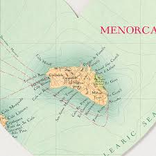 Menorca Spain Map by Menorca Map Heart Print By Bombus Off The Peg Notonthehighstreet Com