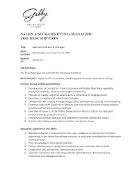 cover letter duties of sales and marketing manager duties of sales