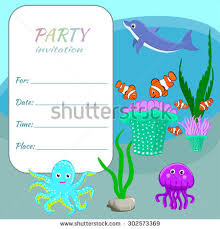 children party invitation card template colorful stock vector
