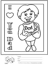 coloring page fathers day love ginormasource kids