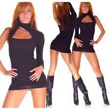 women clubbing asymmetric funky mini dress polo neck cutout one size