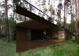 modern forest house cube inside large than outside haammss