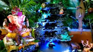 Home Ganpati Decoration Our Home Ganesha Decoration Youtube