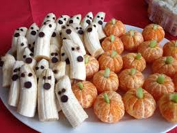 halloween ghost pumpkin tangerine pumpkins banana ghosts fruity halloween healthy