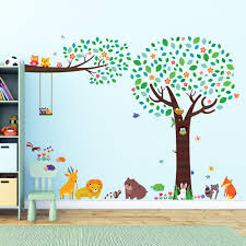 large tree and branch with owls and animal friends wall stickers