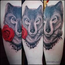 just did this wolf tattoo wolf tattoo redrose rosetattoo