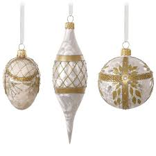 white and gold glass ornaments set of 3 gift ornaments hallmark