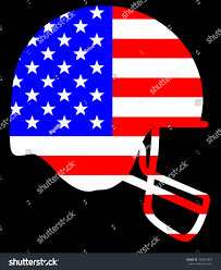 Blue And Black Striped Flag Outline Sketch Silhouette Football Helmet Blue Stock Vector