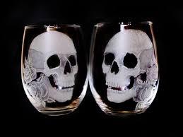 halloween goblets skull and rose stemless custom wine glass set spooky skull