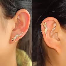 ear cuff piercing climbing lizard rhinestone ear cuff single no piercing adjustable