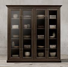 restoration hardware china cabinet 20th c english brass bar pull glass 4 door cabinet in brown oak