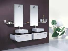 futuristic small bathroom ideas highlighting white lacquer wooden
