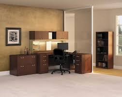 calming home office with dark brown corner desk and under cabinet