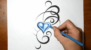 designing a tribal tattoo design with a blue heart youtube