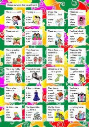 esl kids worksheets possessive adjectives and possessive pronouns
