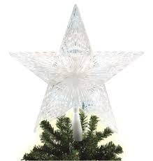 battery operated 10 ct pentagram star led tree topper pure white