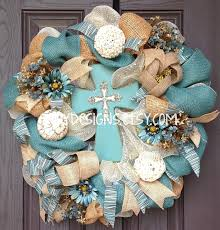 turquoise vintage cross and burlap deco mesh wreath looks like