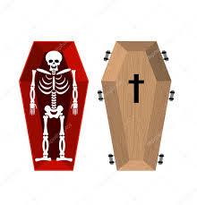 Famosos Esqueleto no caixão. Caixão aberto, crânio e ossos. Homem morto em  #EL35