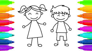 how to draw kids and boy learning coloring pages for