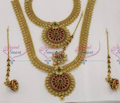 wedding necklace set red images W0170 bridal exclusive indian traditional grand temple wedding JPG