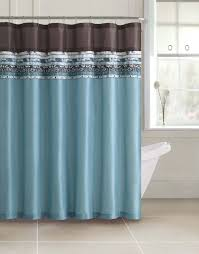 pink fabric shower curtains ceramics flooring brown wooden vanity