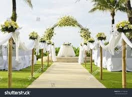wedding setup wedding set garden inside stock photo 127108700