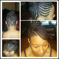 images of black braided bunstyle with bangs in back hairstyle swoop bang updo with braided bun cute cornrows pinterest