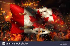 Burning A Flag Canada Burning Fire Flag War Conflict Night 3d Stock Photo