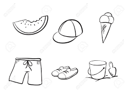detailed sketches of various objects on a white background royalty