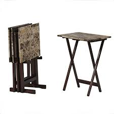 linon home decor amazon com linon home decor tray table set faux marble brown