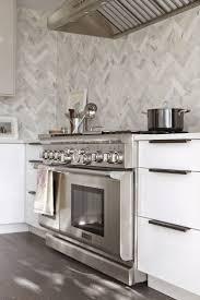 kitchen white marble herringbone kitchen backsplash marble